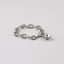 Rope detailed burnished silver plated link extender and bracelet embellished with a Swarovski® crystal.
