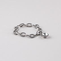 Rope detailed burnished silver plated link extender and bracelet embellished with a Swarovski® crystal.