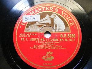 ERLING BLOCH & LUND CHRISTIANSEN Hmv 5280 2x78 BEETHOVEN Sonata 8