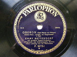 EMMY BETENDORFF Parlophon 9273 OPERA 78 OBERON