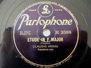 CLAUDIO ARRAU Parlophone 2588 PIANO 78 CHOPIN Tarantelle