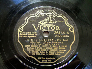 BENNY GOODMAN ALL STAR Victor 26144 78 TRISTE LUISITA / LOS BLUES