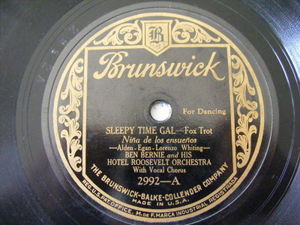 BEN BERNIE HOTEL ROOSEVELT ORCH Brunswick 2992 78A LITTLE BIT BAD / SLEEPY TIME