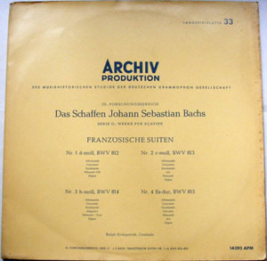 KIRKPATRICK Archiv 14095 APM BACH French Suites LP NM-