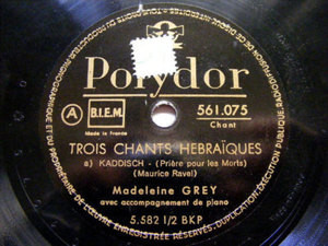 MADELEINE GREY Polydor 561075 78 RAVEL 3 CHANT HEBRAIQU