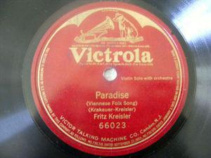 FRITZ KREISLER Victrola 66023 VIOLIN 78rpm PARADISE