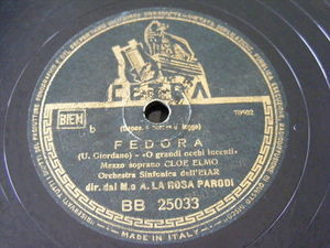 CLOE ELMO, ROSA PARODI Cetra BB-25033 OPERA 78 FEDORA