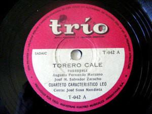 CUARTETO LEO w/SOSA MENDIETA Trio 42 FOLK 78 TORERO CAL