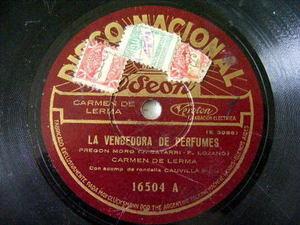 CARMEN DE LERMA Disco Nacional 16504 TANGO 78 rpm LA VENDEDORA DE PERFUMES/CANTO
