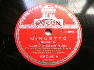 CARLOS PESSINA STRING QUARETT Odeon 66046 RARE 78 BOCHERINNI Minueto NM