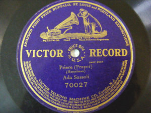 ADA SASSOLI Harp solo VICTOR 70027 1sid 78rpm HASSELMAN