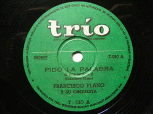 FRANCISCO PLANO ORCH Trio 10 FOLK 78rpm VIRGEN MARIA