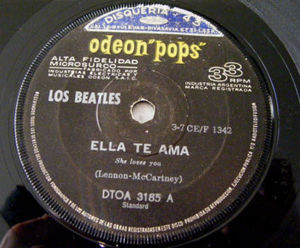 "7"" BEATLES Odeon 3185 Argentina 33rpm ELLA TE AMA"