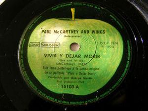 """7"""" McCARTNEY & WINGS Apple 15103 45 VIVIR Y DEJAR MORIR"""
