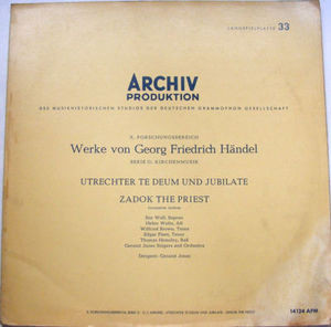 G. JONES Archiv 14124 HANDEL Zadok The Priest LP PROMO