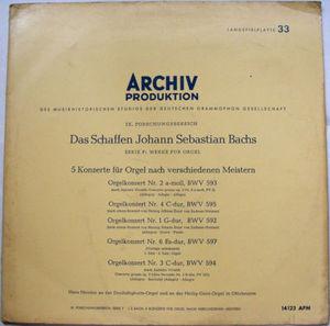 HANS HEINTZE Archiv APM 14123 BACH LP Promo NM-