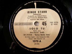 "7"" RINGO STARR Apple Records 1070 Argentina 45 SOLO TU"