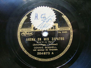 CONNIE BOSWELL Arg ODEON 284873 JAZZ 78rpm ARENA EN MIS