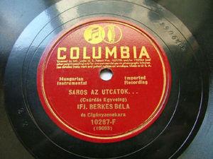 IFJ. BERKES BELA Columbia 10287-F HUNGARIAN 78rpm