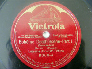BORI & SCHIPA Victrola 8068 OPERA 78 BOHEME Death Scene