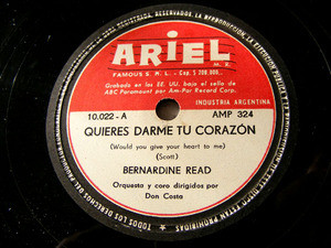 BERNARDINE READ Ariel 10022 78rpm MI MUCHACHO