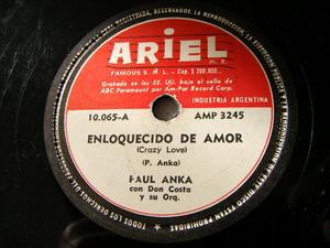 PAUL ANKA Arg ARIEL 10065 78rpm ENLOQUECIDO DE AMOR