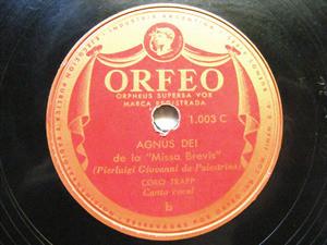 CORO TRAPP Orfeo Argentina 1003  78 AGNUS DEI DE LA MISSA BREVIS