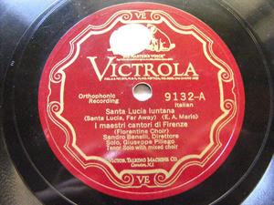 FLORENTINE CHOIR Victrola 9132 78rpm STA LUCIA LUNTANA