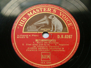 BERNAC & POULENC hmv 6267 78rpm METAMORPHOSES/TWO PEMS