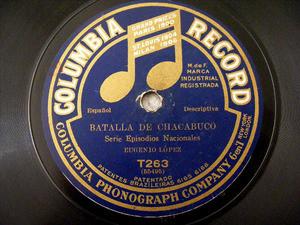 EUGENIO LOPEZ Columbia T263 78rpm BATALLA DEL CHACABUCO