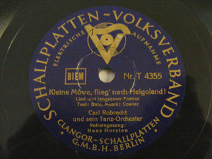 CARL ROBRECHT Schallplatten 4355 TANGO 78rpm MORGENWIND