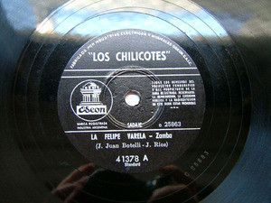 LOS CHILICOTES Odeon 41378 ARG FOLK 78rpm RUMBO A MAIMA