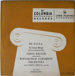 "FRITZ REINER & CAROL BRICE Col ML 2006 DE FALLA 10"" LP"