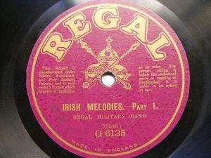 REGAL MILITARY BAND Regal G-6135 78rpm IRISH MELODIES