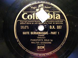 GIESEKING Columbia 337 2x78rpm Set DEBUSSY Suite Bergam