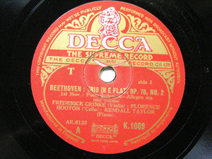 GRINKE HOOTON & TAYLOR Decca 1069 3x78rpm BEETHOVEN