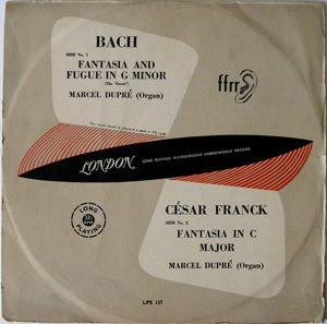 "MARCEL DUPRE organ DECCA LPS-4513 BACH, FRANCK 10"" LP"