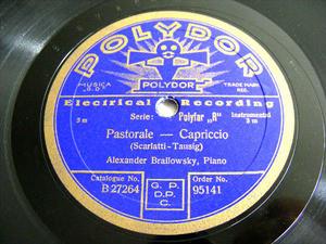 ALEXANDER BRAILOWSKY Polydor 95141 PIANO 78 SCARLATTI