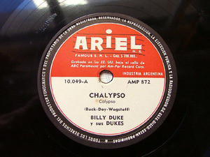 BILLY DUKE & His DUKES Rare ARIEL 10049 78rpm CHALYPSO