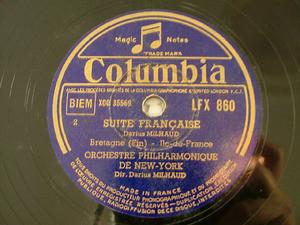 DARIUS MILHAUD Columbia LFX 860 2x78rpm Set SUITE FRANC