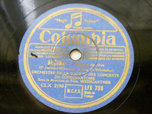 FELIX WEINGARTNER Columbia LFX 739 COND 78rpm ALCINA