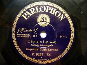 EDITH LORAND ORCH Parlophon 9267 78rpm ERNANI