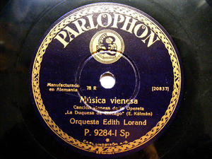 EDITH LORAND Parlophon 9284 78rpm MUSICA VIENESA