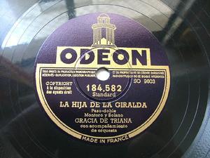 GRACIA DE TRIANA Odeon 184582 SPANISH 78rpm TOMA VINO DE MI VINO