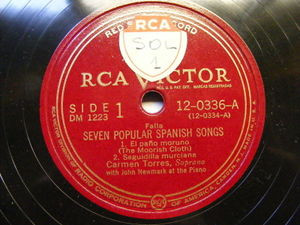 CARMEN TORRES Victor 12-0336/7 2x78 Set SEVEN POPULAR SPANISH SONGS EX