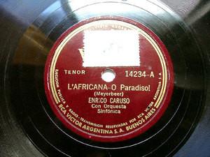 ENRICO CARUSO Arg VICTOR 14234 OPERA 78rpm L'AFRICANA