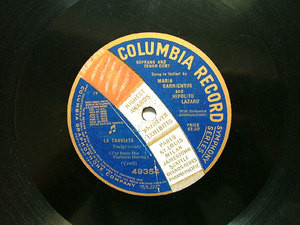 BARRIENTOS & LAZARO Columbia 49354 OPERA 78rpm TRAVIATA