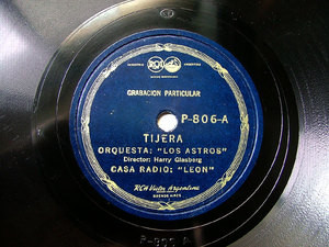 LOS ASTROS & HARRY GLASBERG Arg Priv VICTOR P806 78rpm