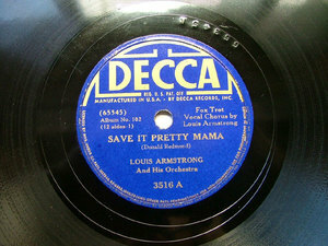 ARMSTRONG / ELLINGTON Decca 3516 JAZZ 78rpm SAVE IT