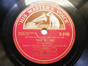 BENNY CARTER & ORCH hmv B.9186 JAZZ 78 COCKTAILS FOR TWO / TAKIN' MY TIME